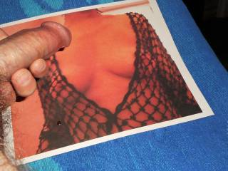 Mrs. Petalifantasie nipples poking through her sexy fishnets make my hard cock feel so good...I can\'t resist my horny urge to massage my stiff shaft over her  >:)