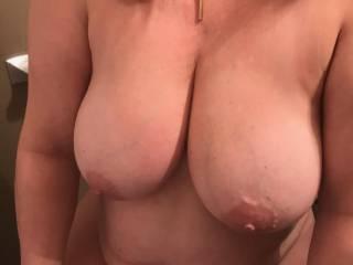 anyone wanna unload on my wifes big fucking tits