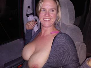 I rode home with the interior lights on with my tits hanging out for everyone to see