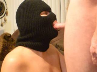 After several min of sucking his cock I put on the mask and he blew his load all over me most ended up on my tits.