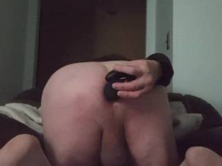 This is what happens when I catch my man playing with my new toy.  I made him ride bitch for me.  He actually loved it. Would love to watch him take the real thing someday while I pleasure my ass and pussywith our new double headed vibrating dildo.