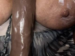 Big tits and nipples like a little lube to get her horny