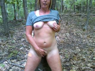 Fingering her pussy in the state park woods right before we fucked