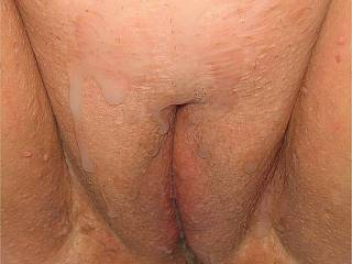 Just a little closer view....After licking my pussy, hubby gave me the most incredible pounding (and I DO love a good pounding hehe), and then covered my pussy in his nice warm cum....any guys want to add to the mess, or any ladies like to clean me up a l