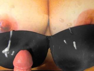 My 4th cum bukkake black bra tribute to Sweet T\'s tatsy tits! Her reward for my tit tributes she sent me!