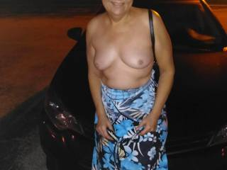 My wife flashing her tits