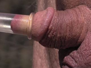 Was out pumping my nipples and my poor little cock was looking soo left out so i put the tube on the tip of my cock and pumped it up ! Could not believe how sexy my slit lips looked after i pulled the tube off ! So plump and swollen !