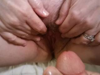 That married pussy needs a cock! Spread those luscious pink lips wide.