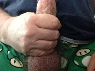 close-up of my cock and balls