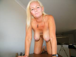 Like? LOVE your boobs, especially hanging like that. Drop those beautiful girls to my waiting lips babe. Fantastic pic.