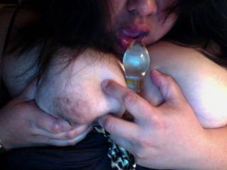 for you guys that want to tit fuck me, I\'ve only had a glass toy between the girls, never a cock.