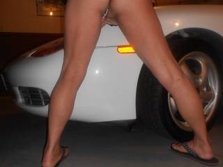 I'd love to bend you over and fuck you over the fender ;) Good thing that car's already white. You'd make me shoot so much cum with that sexy pussy and ass.