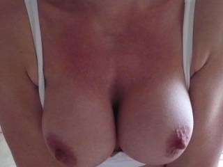 Oh wow such lovely big boobs and those nipples...mmm I love your hard nipples...am I hard also...you bet I am and if you like I'd love to show you...mmm so sexy X
