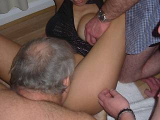 So nice from her to spread her legs so everyone could have access into her tasty pussy and feed on her creamy oozing wetness. She's the kind of gal you want have close and on your bed when having sex parties with you and friends.