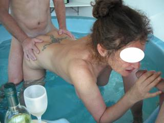 Threesome fun in the spa at home, when our swinger friend came around for a play.