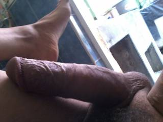 My semi erect cock wit hard veins and feet