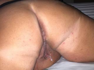 Bbc shot cum over my ass when he was done. :)