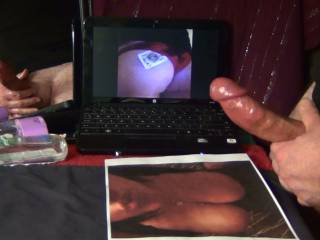 Charlene loved to tease me. Notice the playing card sticking out of her panties on the monitor?