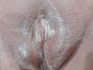 Pic taken just after shaving her pussy nice and smooth!
