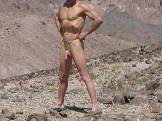 You've got a great body. Hard, chiseled. It looks great against the rocks.