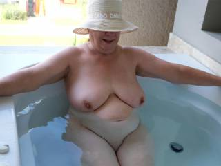 In the balcony tub, the water is rather warm!