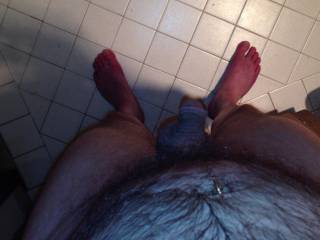 You have some sexy feet... wouldn't mind licking and sucking them before taking good care of that cock of yours
