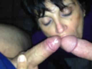 my cock meat loving slut working our poles with her mouth and tongue.....we fucked and sucked all night til all 3 crashed in our bed....woke up in the morning and double stuffed her again !!!!  such a cock whore