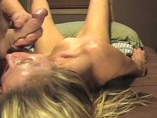 I put my balls in her mouth, she sucked them and I shot several ropes of cum.