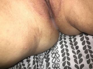Huge creampie. Wife took 9 inch fat cock... blew her pussy out. Says she can\'t feel my six inch dick.. lets me fuck her anyway.