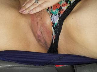 My wife showing her sweet pussy in the car