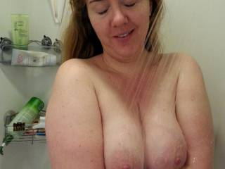 Like the way my heavy milk filled tits look when they're about to get wet in the shower?
