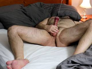 I really began to enjoy my hard cock, I kept givng it long strokes until it exploded.