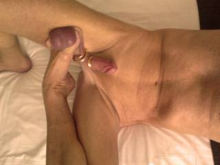 """Posing my body, handling (with my FOOT only) my """"sexicity-device"""" (balls/ballsack, penis/phallus/glans) for the purpose of porn-art — all the photos/pictures are new, untreated and raw, genuine, made with a normal cellphone-camera by me/Lovolust9"""