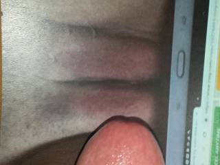 Cock is hard as a rock looking at Kallie's pussy with my cock tribute! About to start stroking my dick until I cum all over her!