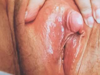 Showing you my wet horny pussy.  Would you like to eat or fuck it?