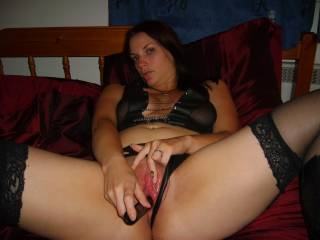 M using her vibrator and spreading her pussy for you.