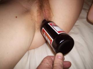 And was hubby pushing it in past the neck of the bottle to stretch your beautiful pussy?!