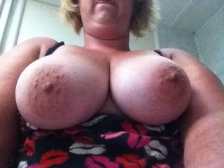 Nice big nipples!  Wish I was sucking on them!