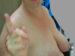 Wagging her finger at me... I\'ve been a bad boy, but things are about to get more naughty!