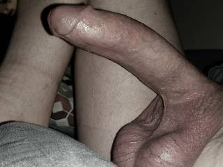 Big tasty cock and balls, shaved smooth all over.