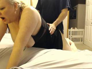 Big tit wife cums getting fucked from behind.  She cums doing nearly any and everything!  This time from getting cock from behind... she cums the entire time.