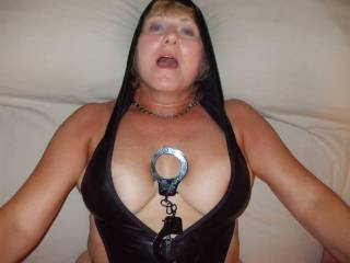Mrs Seeker getting sext up in her hooded latex teddy. Her tits are about to pop out for cumshots too!