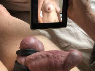 Cock rings on and stretched tight, sexy tits.