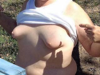 Flashing my titties.
