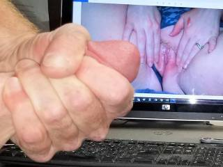 Stroking my hard cock to watchingyouplay\'s tasty pink spread creamy pussy! Love her squirt vids! Love seeing her pussy cum!