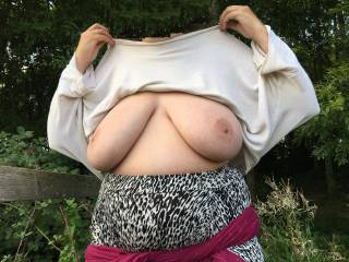 New - made yesterday. Big tits on display as my friend holds her top up !