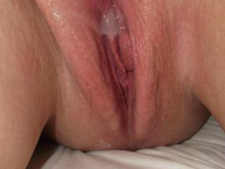 How about I clean you up than add my own. I'd clean that up too if you'd like!! All with my mouth. Love your Yummy Pussy Lips by the way!