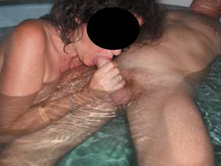 Fun with our swinger friend in the spa at home, when he came around for a threesome.