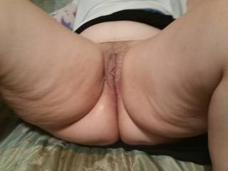 What a wonderful delicious mess I made.  I had been teasing her all day, had her so worked up her pussy was literally dripping wet when I got home from work. THEN I made her squirt so much it was dripping off her ass.