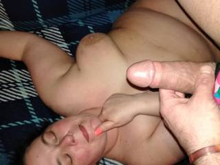 Showing him where to release himself.